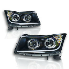Winjet 2011-2015 Chevrolet Cruze Projector Headlights with LED Glow Bar DRL - Bl