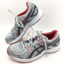 Asics Womens TJG135 Running Shoes Sneakers Size 5.5 Silver & Red EUC