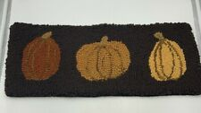 Primitive Folk Art Hooked Wool Wall Hanging or Table Runner Pumpkins