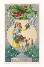 Antique Christmas Postcard Child Dog Holly German Very Good Condition c.1907