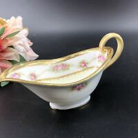 Vintage Nippon Morimura Hand Painted Japan Pink Rose Heavy Gold Gilt Creamer