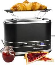Andrew James Lumiglo Toaster 2 Slice Extra Wide Slots Warming Rack - Matt Black
