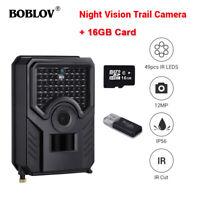 BOBLOV 16GB 12MP 1080P Hunting Scouting Game Camera 49PCS IR LEDs 120°FOV Lens
