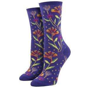 Socksmith Women's Crew Socks Laurel Burch Wildflowers Floral Novelty Footwear
