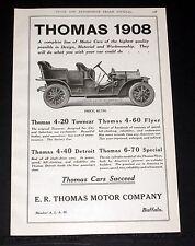 1908 OLD MAGAZINE PRINT AD, THOMAS 4-40 DETROIT TOURING CAR THOMAS CARS SUCCEED!