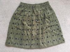 NEXT Khaki Embroidered Knee Length Skirt Elasticated Waist Size 8