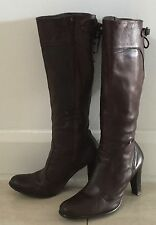 Ab Fab TORRETTI Brown Leather Long Knee High Boots Size 39 w Lace Up Back