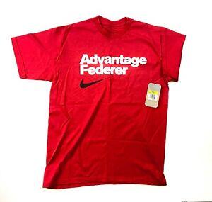 Mens Nike Roger Federer Nike RF Tennis T Shirt Advantage Federer Red S M