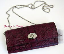 New Coach 53657 COLORBOCK EXOTIC EMBOSSED LEATHER SLIM ENVELOPE CHAIN WALLET Bag