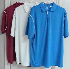3 Nwot Cutter & Buck Men's Short Sleeve Polo #Mck00683 Large Maroon/Aqua/White