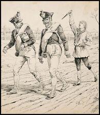 Dessin original de BOMBLED vers 1890 Prussien Militaire soldat guerre Napoléon