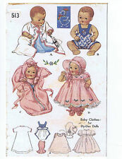 """513 Vintage Chubby Baby Doll Pattern - Size 13"""" -  Year 1937"""