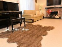 Runner Fur Area Rug Design Middle Seam Wolf Bear Grizzly Coyote Rectangle Rugs