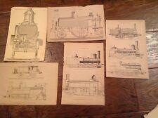 Locomotives , Steam Trains  - Five old antique print Circa 1880