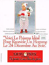 PUBLICITE ADVERTISING 074  1989  MAGASINS MONOPRIX   pyjama  enfant BOUT'CHOU