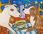 Pitbull Drinking Coffee 13 x 19 Dog Art Print Pit Bull Terrier Collectible KSams