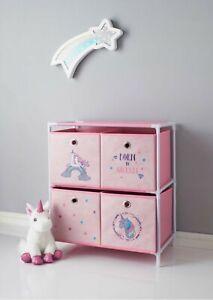 Dinosaur & Unicorn 4 Drawer Chest Storage Unit For Kids Room