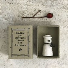 East of India White Porcelain SNOWMAN in CHRISTMAS Vintage Style Matchbox 2020