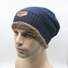 Unisex Women Men Camping Hat Winter Beanie Baggy Warm Wool Ski Cap Fleece Line