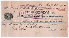 1904 GORDON Horse Shoeing BLACKSMITH Billhead HORSES Horseshoe SCRANTON PENN PA