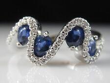 18K Sapphire Diamond Ring Wave White Gold Oval Blue Modern Fine Jewelry Size 4.5