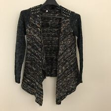 BKE Women Small Knit Sweater Open Front Stud Shoulders Draped Buckle Wool Blend