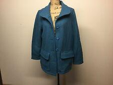 L L Bean Blue Lightweight Coat Wool Italy Size L