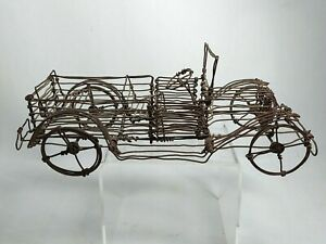 Vintage Folk Art Wire Automobile Classic Car, Wheels Roll, Outsider Art