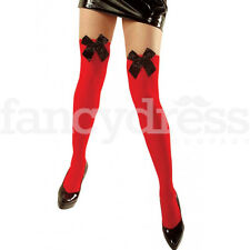Ladies Over Knee Hold Up Thigh High Red Stockings Black Bow Socks Fancy Dress