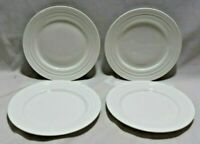 "Mikasa Swirl White Bone China 9"" Salad Luncheon Plates Set of Four New"