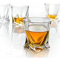 Clear Glass Crystal Quadro Tumbler 340ml Whisky Spirit Glasses Set of 2, 4, 6