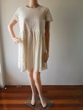 NWT ASOS Ladies Cream Floral Lined Knee Length Dress Size: 10