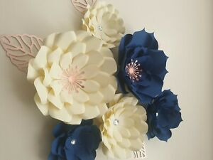 Navy and cream paper flower wall decoration, back drop, party, wedding