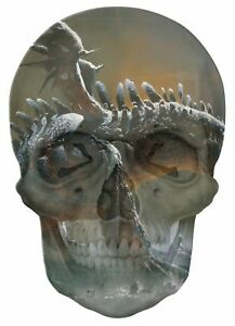 Gothic Skull Double Exposure Fairy Tale Fantasy Dragon View Wall Sticker 578