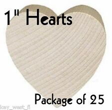 """HEART ~ 1"""" ~ Wood Cutout Craft Shape ~ Unfinished { Lot of 25 } ~ by PLD"""