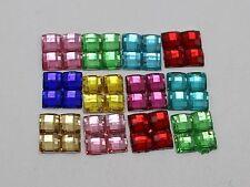 500 Mixed Colour Mosaics 4mm Square Flatback Rhinestone Gems 8X8mm No Hole