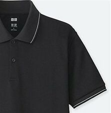 UNIQLO 'Dry-Ex Accent Striped' Short Sleeve Polo Shirt Men's Small BLACK **NWT**