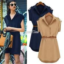 Women's Cap Short Sleeve Stretch Casual Chiffon Shirt Mini Dress With Belt A++