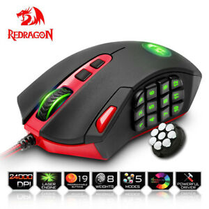 USB Wired Gaming Mouse 24000 DPI 19 Buttons Programmable Redragon M901 Perdition