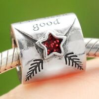 S925 Sterling Silver Letter To Father Christmas Santa Charm Bead Fit Bracelet