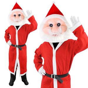 SANTA CLAUS HOODED COAT PLUSH MASCOT HEAD COSTUME FATHER CHRISTMAS FANCY DRESS