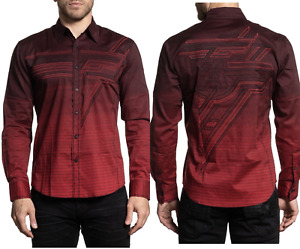 AMERICAN FIGHTER Men's Long Sleeve Button Down Shirt HOSTILITY Embroidered M-3XL