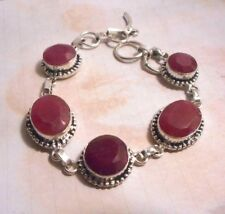 Artisan hand made in India silver and ruby bracelet.