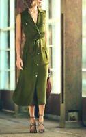 Karen Millen Khaki Midi Shirt Dress Button Down Safari Long Maxi 8 To 10 DY236