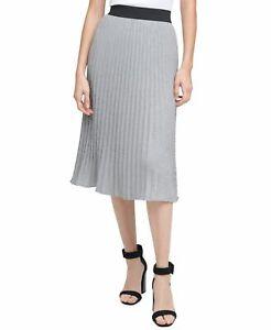 Calvin Klein Womens Skirt Gray Size Medium M Pleated Metallic Ribbed $79 596