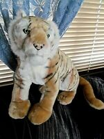 "Plush stuffed Six Flags Tiger Cat w/luminous green eyes 14"""
