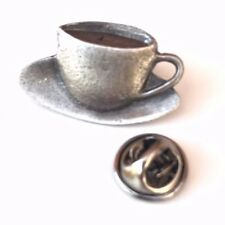 Tea Cup Handcrafted From English Pewter Lapel Pin Badge