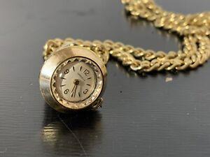 "CARAVELLE~ Womens Gold Pendant Watch vtg unique cone shape heavy 30"" chain works"