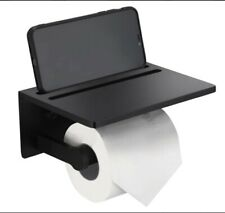 Smarthome Toilet Paper Holder with Shelf – Black Anti-Rust Aluminum Tissue Roll