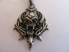NEW PEWTER HELL RAISERS WINGED REAPER SKULL NECKLACE WITH ADJUSTABLE BLACK CORD